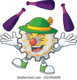 Juggling cute gear cog in character mascot