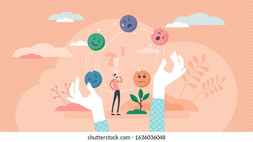 Juggling emotions, flat tiny persons vector illustration. Personal traits and self awareness emotional intelligence. Controlling impulses and mental activity reactions. Exploring inner personality. - Shutterstock ID 1636036048