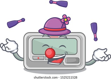 Juggling pager cartoon isolated with the character