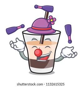 Juggling white russian mascot cartoon
