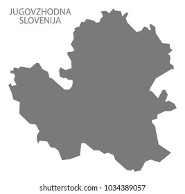 Jugovzhodna Slovenija map of Slovenia grey illustration shape