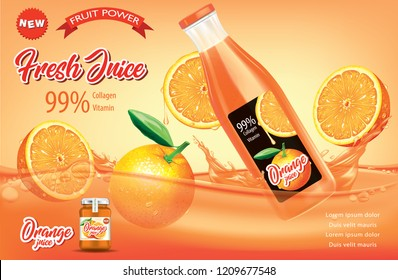 Juice ads. Bottle with orange slices and splashes.illustration and packaging