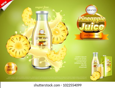 Juice ads. Bottle with pineapple slices and splashes. 3d illustration and packaging