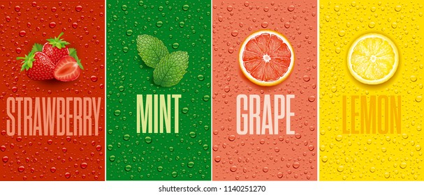 juice background with drops and grapefruit, lemon slice, mint leaf and strawberry