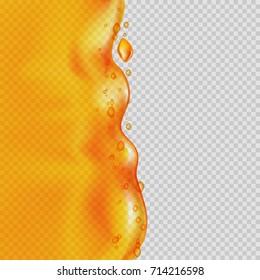 Juice background. Transparent orange liquid splash. Vector illustration.