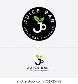 Juice bar vector logo. Farm fresh food sign
