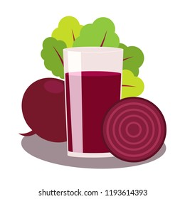 juice of beet on white background. glass of drink. Vegetable whole and half. Root with tops.  Vector flat illustration.