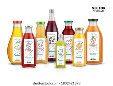 Juice bottles set. Isolated fruit juice glass bottles. Healthy natural drink package with label design. Fresh juice drink vector illustration
