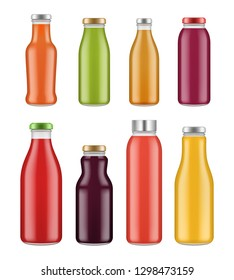 Juice bottles. Transparent jar and packages for colored liquid food and drinks vector mockup