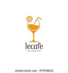 Juice Cafe icon & logo. Healthy food logo design concept.