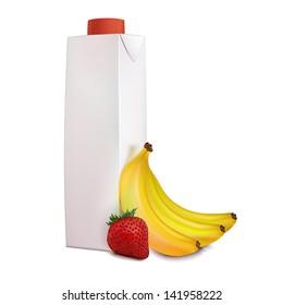 Juice carton, banana, strawberry, isolated on white background.