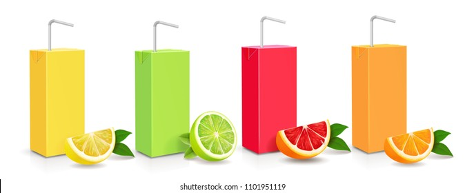 Juice citrus carton cardboard box pack 3d set