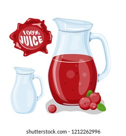 Juice with cranberry in a glass jug, vector cartoon card with fresh berries and smothie isolated on white. Red juice splashes drops. Healthy organic fruit drink, cocktail, lemonade for healthy life,