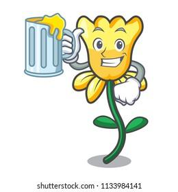With juice daffodil flower mascot cartoon