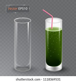 Juice and an empty glass. Fruit organic drink. Healthy diet. Clean eating. Tall glass with beverage. Transparent photo realistic vector illustration.