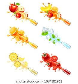 Juice explosion from glass bottle. Apple, multivitamin, orange, mint, pineapple and tomato 3d vector set