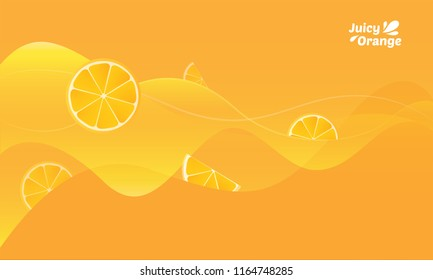 Juice flowing yellow background with slices of oranges with typography logo