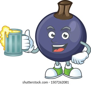 With juice fresh blackcurrant cartoon for healthy diet