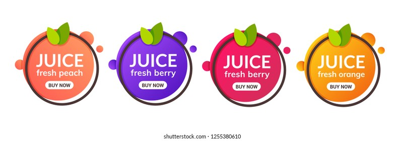 Juice fresh fruit label icon. Orange, lemon, berry, peach healthy juice design sticker.