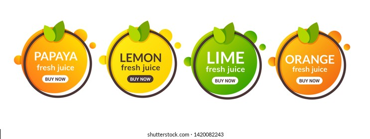 Juice fresh fruit label icon. Orange, lemon, lime, papaya healthy juice design sticker.