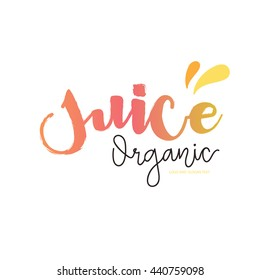 Juice fresh logo vector template, Hand drawn letter.