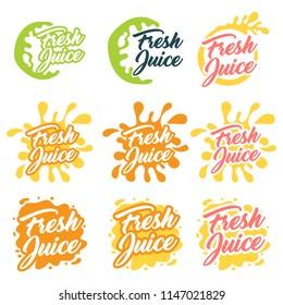 Juice fruit logo set. Vector illustration on white background.