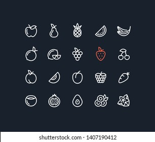 Juice Fruit Outline Line Icons