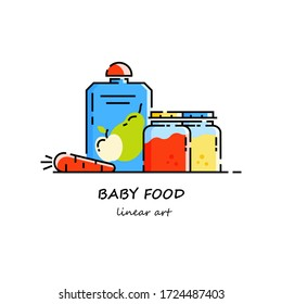 Juice, fruit or vegetable puree for healthy feeding of the baby. Healthy eating Vector illustration in linear style. Concept for magazine design, brochure, web.