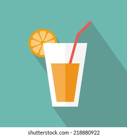 Juice glass icon. Flat icon with long shadow. Vector illustration