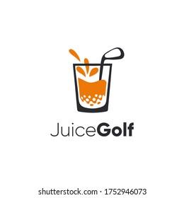 Juice golf modern logo, illustration fruit drinks, glass symbol.