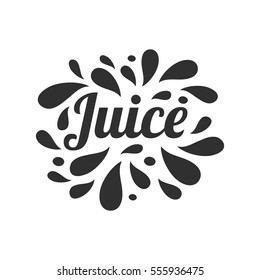 Juice hand written lettering, juice logo, label or badge for groceries, fruit stores, packaging and advertising. Splash with drops badge Logotype design. Vector illustration