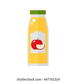 Juice icon. Bottle of juice apple isolated icon on white background. Flat style vector illustration.