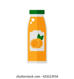 Juice icon. Bottle of juice isolated icon on white background. Flat style vector illustration.