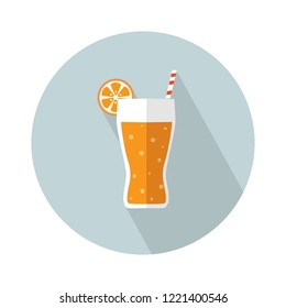 juice icon. Flat illustration of vector fresh orange juice. tropical cocktail isolated on white background. drinks sign symbol