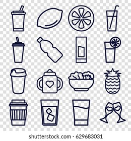 Juice icons set. set of 16 juice outline icons such as lemon, baby bottle, drink, clink glasses, cocktail, food, pineapple