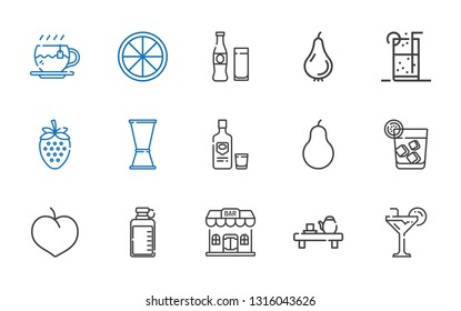 juice icons set. Collection of juice with cocktail, tea, bar, bottle, plum, vodka, pear, jigger, strawberry, soft drink, beverage, orange. Editable and scalable juice icons.