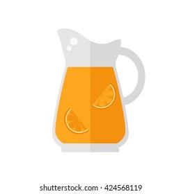 Juice jug icon. Orange juice jug isolated icon on white background. Healthy drink. Flat style vector illustration.