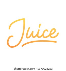 Juice lettering. Modern linear calligraphy design for Juice label.
