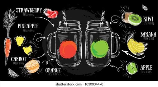 Juice menu, hand drawn. Smoothie.