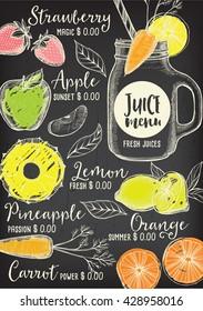Juice menu placemat drink restaurant brochure, dessert template design. Vintage creative beverage template with hand-drawn graphic. Vector food menu flyer. Gourmet menu board.