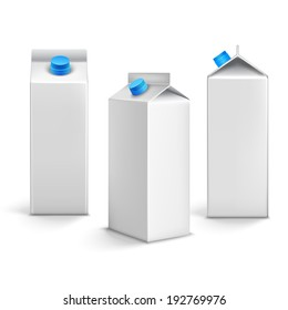 Juice milk blank white carton boxes packages 3d isolated icons vector illustration