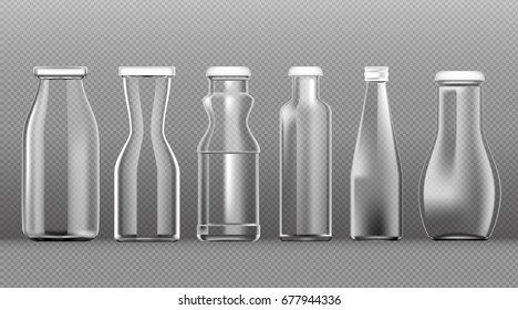 Juice milk empty bottles template on transparent background, Vector image.