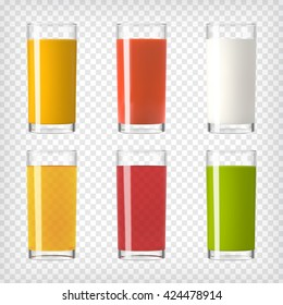 Juice and Milk Glasses set. Colorful set of juices. Realistic glasses with healthy beverages. Vegan juice. Cleansing and detox. Orange, red berry, tomato juices, smoothie and milk. Vector illustration