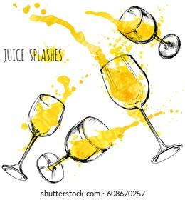 Juice orange and apple splashes in wine glasses, watercolor, sketch vector illustration