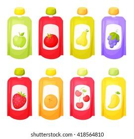 Juice package set. Fruit purees. Healthy snack.