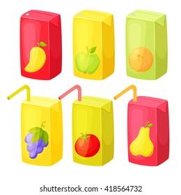 Juice package set. Healthy fruit snack in pack.