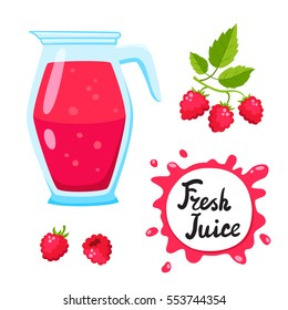 Juice with raspberry in a glass jug, vector cartoon card with fresh berries and smothie isolated on white. Red juice splashes drops.