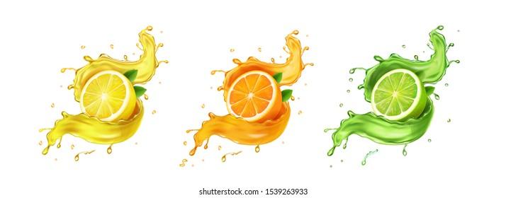 Juice splash lemon, orange, lime set. Citrus splashig fresh collection realistic vector.