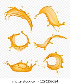 Juice splashes. Liquid fresh fruits drops vector realistic pictures isolated