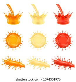 Juice splashes orange pineapple and tomato 3d photo realistic vector set